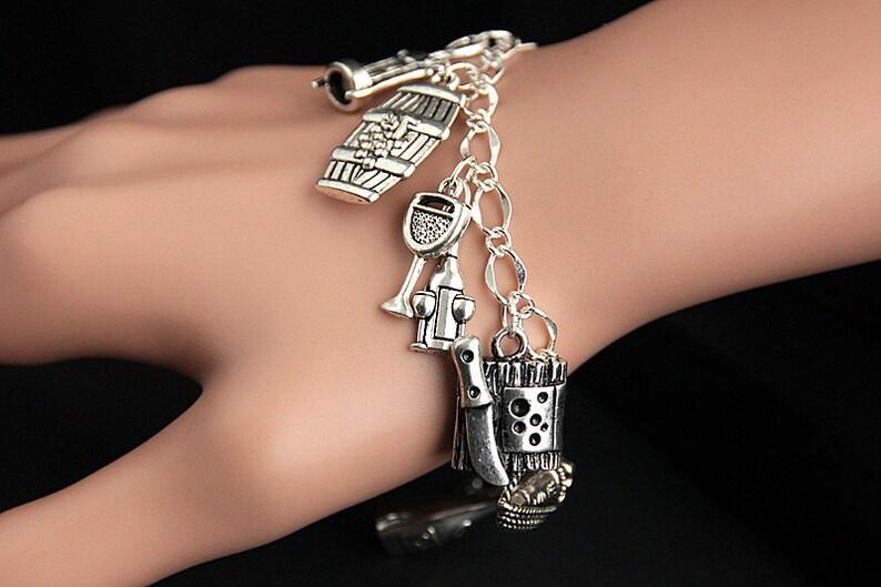 Wine Tasting Bracelet. Wine Charm Bracelet. Wine Lover image 0