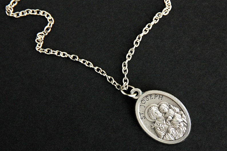 Saint Joseph Necklace. Catholic Necklace. St Joseph Medal image 0