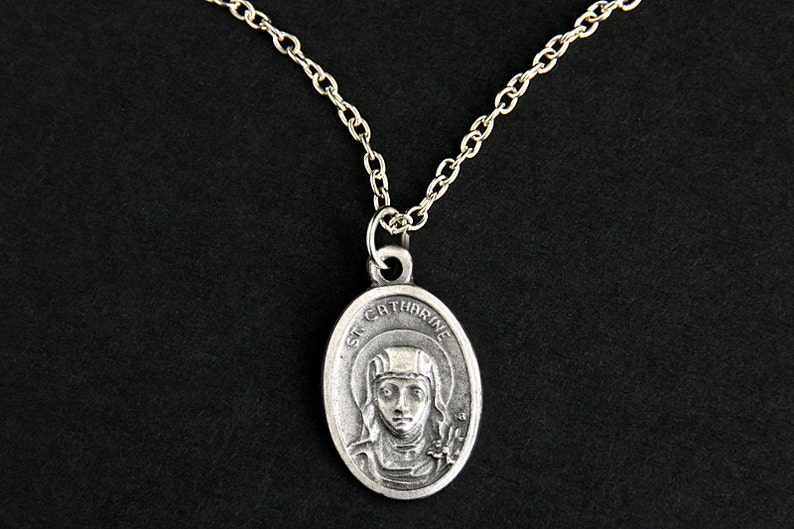 Saint Catherine Necklace. Christian Necklace. St Catherine image 0