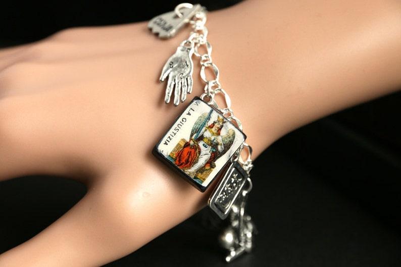 Tarot Bracelet. Justice Charm Bracelet. Divination Bracelet. image 0