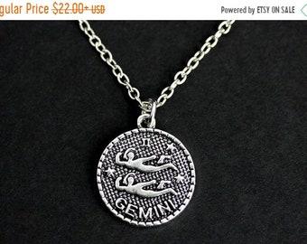 HALLOWEEN SALE Gemini Necklace. Sun Sign Necklace. Gemini Charm Necklace. Silver Necklace. Horoscope Necklace. Zodiac Jewelry. Handmade Neck