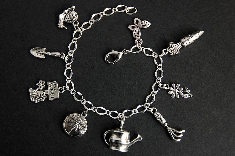 Gardening Bracelet. Gardener Charm Bracelet. Garden Bracelet. image 0
