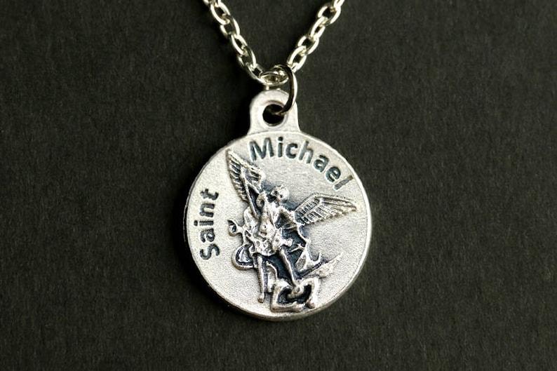Military Necklace. Saint Michael Necklace. Catholic Necklace. image 0