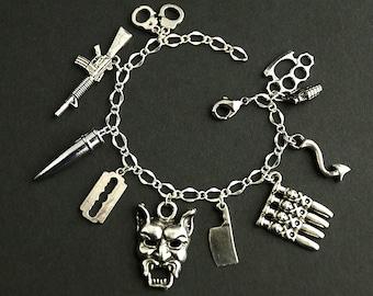 Evil Deeds Bracelet.  Devil Made Me Do It Charm Bracelet. Evil Bracelet. Violence & Danger Bracelet. Silver Bracelet. Handmade Bracelet.