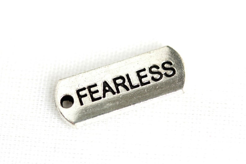 Fearless Charm.  Add-On Charm for Charm Bracelets. Silver image 0