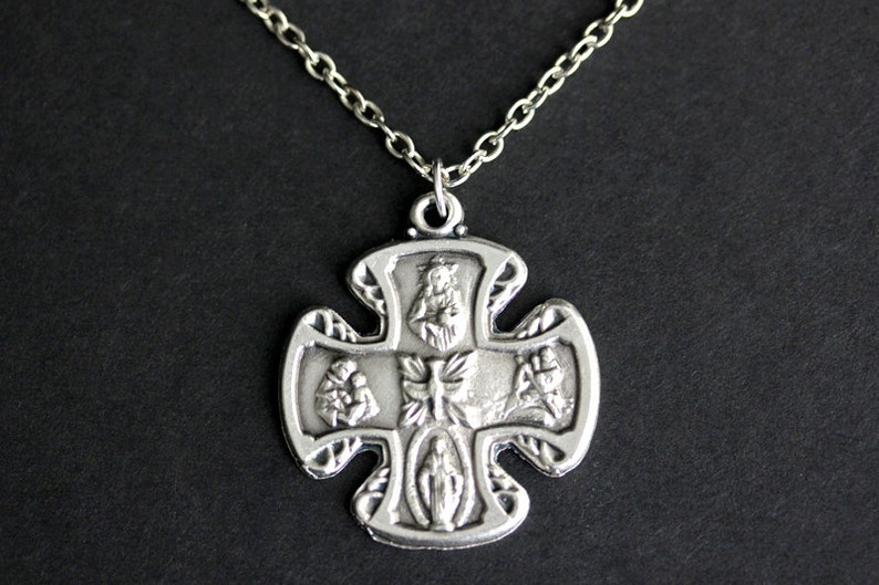 4 Way Medal Necklace. Catholic Necklace. Four Way Medal Charm image 0