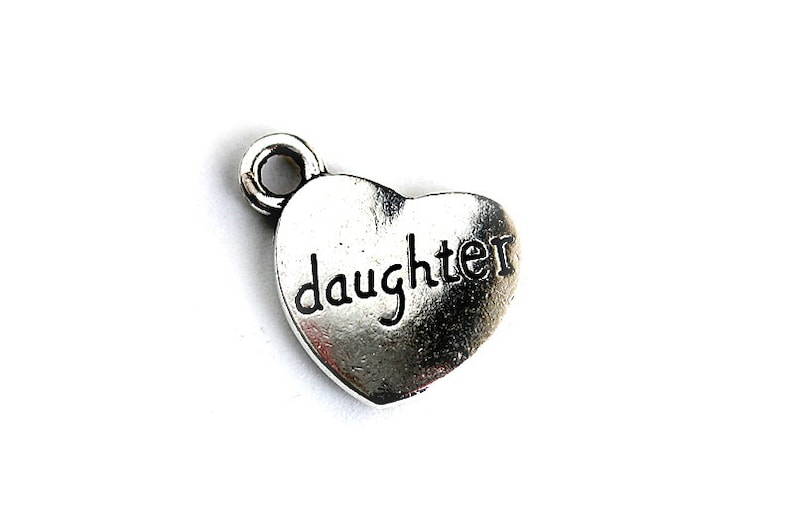 Daughter Charm. Heart Charm. Add-On Charm for Charm Bracelets. image 0