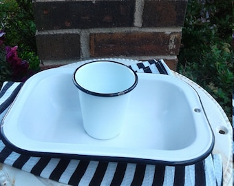 Vintage Enamel Dish W/ Cup/ Farmhouse Decor/ Collectible Enamelware