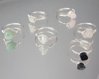 Silver Gemstone Ring, Midi Rings, Dainty Jewelry, Wire Gemstone Rings, Minimalist Ring, Stackable Rings, Handmade Ring, Wire Rings