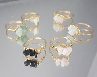 Yellow Gold Gemstone Ring, Gemstone Midi Ring, Midi Rings, Wire Rings, Gold Rings, Minimalist Ring, Stackable Rings, Gift for Teens