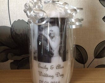 personalised pillar candles with photos, suitable for all occasion. white or ivory candles available.