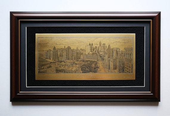 Etching Brass plate The Heart of New York Original Aert. Manhattan circa 1908