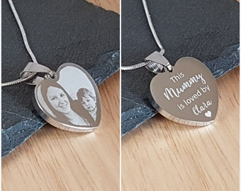 Personalised Photo /& Text Engraved Flared Heart Pendant Necklace Perfect Gift