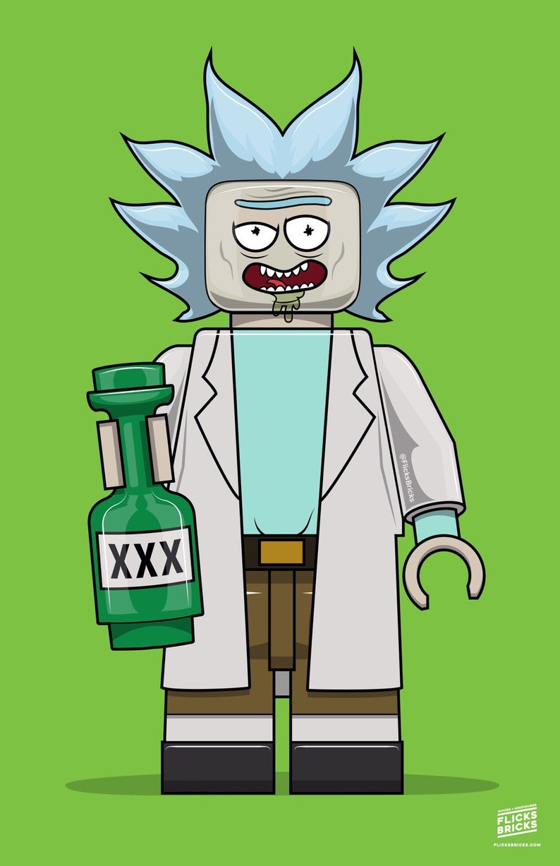 FlicksBricks: Rick Sanchez  Custom Lego Art  Rick and Morty image 0