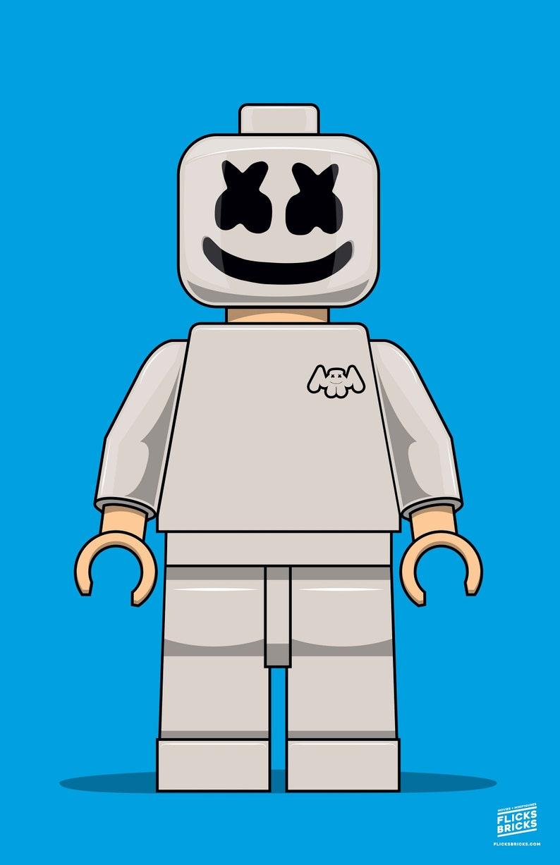 FlicksBricks: Marshmello  11x17 Poster  Lego Minifig Art image 0