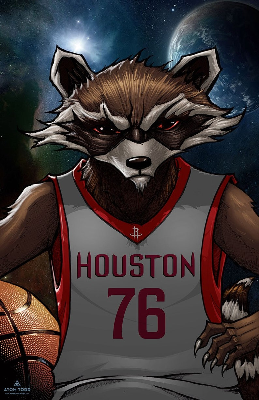 Houston Rocket  Houston Rockets & Rocket Raccoon/ Guardians image 0