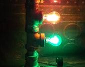Industrial steampunk traffic light lamp,Edison loft lighting,metal art,mancave decor,unique gift,pipe lamp,repurposed,steampunk furniture.