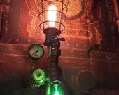 Steampunk industrial lamp,edison bulb loft lighting,unique gift,metal pipe art,steampunk furniture,farmhouse decor,rustic utility light.