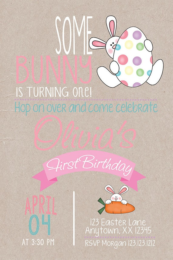 Bunny Birthday Kraft Invitation Bunny Party Easter Birthday Invitation Easter Bunny Invitation Birthday Invitation First Birthday