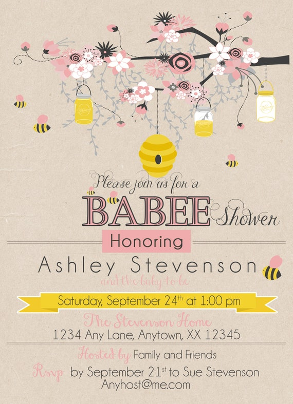 Bumble bee pink baby shower invitation baby shower etsy image 0 filmwisefo