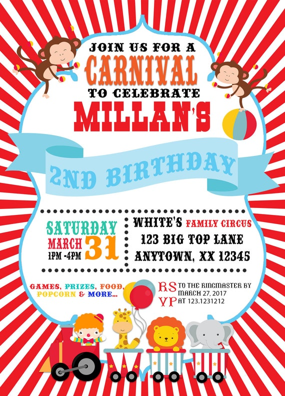 carnival theme party invitation carnival birthday invitation etsy