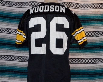 7e7f7114f12 Vintage Pittsburgh Steelers Rod Woodson Wilson Jersey L 100% nylon