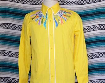 6d49b9f7fa3e8c Vintage Bob Mackie Wearable Art Button Up Blouse Yellow Medium