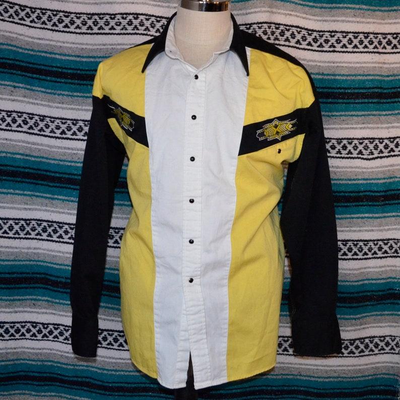 4797a558f3648 Panhandle Slim Western Shirt Onyx Snap Yellow Black XL 100% Cotton