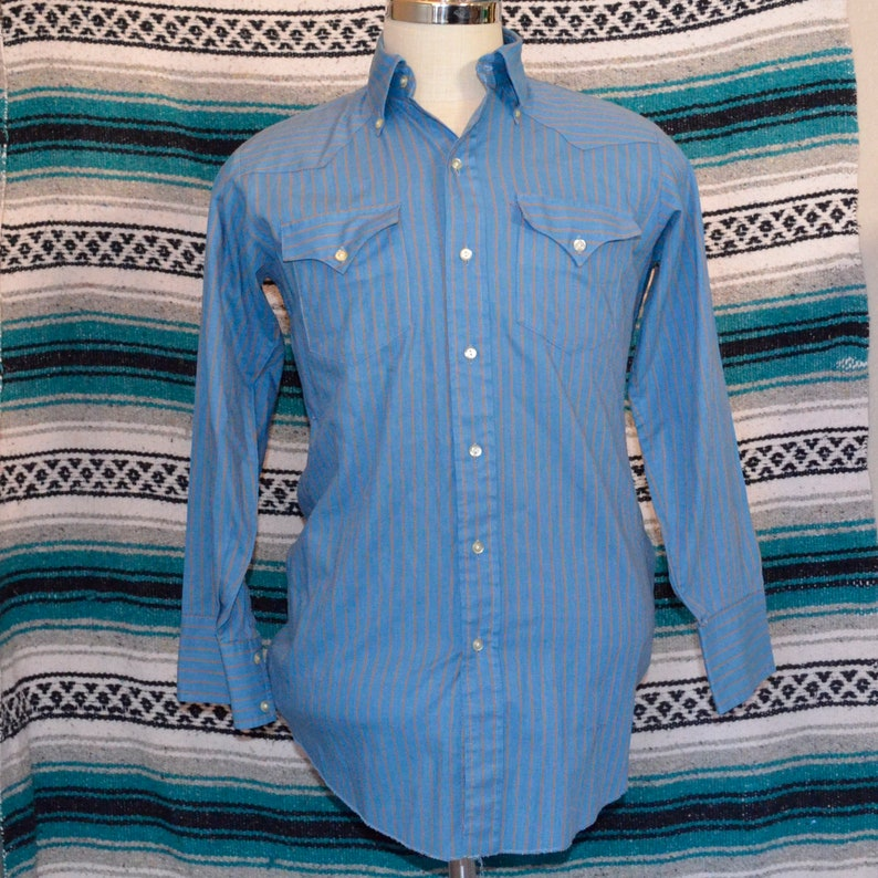 27f988616f4bf Vintage Prior Westerns Button Front Shirt Blue Striped Large