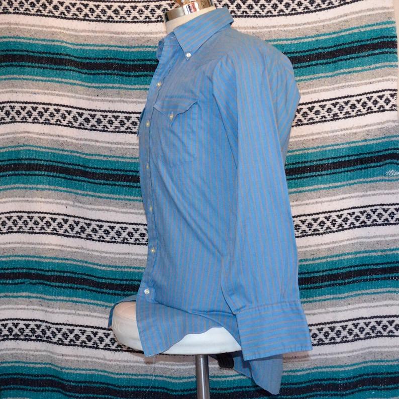 Vintage Prior Westerns Button Front Shirt Blue Striped Large