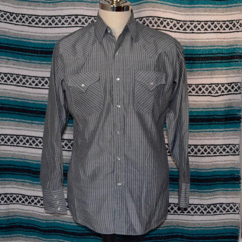 19745b0e09dc0 Ely Cattlemen Western Shirt Pearl Snap Gray Striped Medium