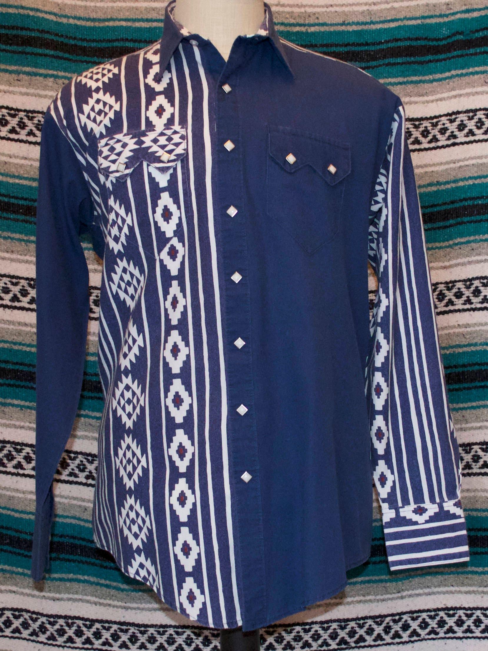 f96bf12735c9d Vintage Rockmount Ranch Wear Western Snap Front Medium M Cotton Polyester  Blend
