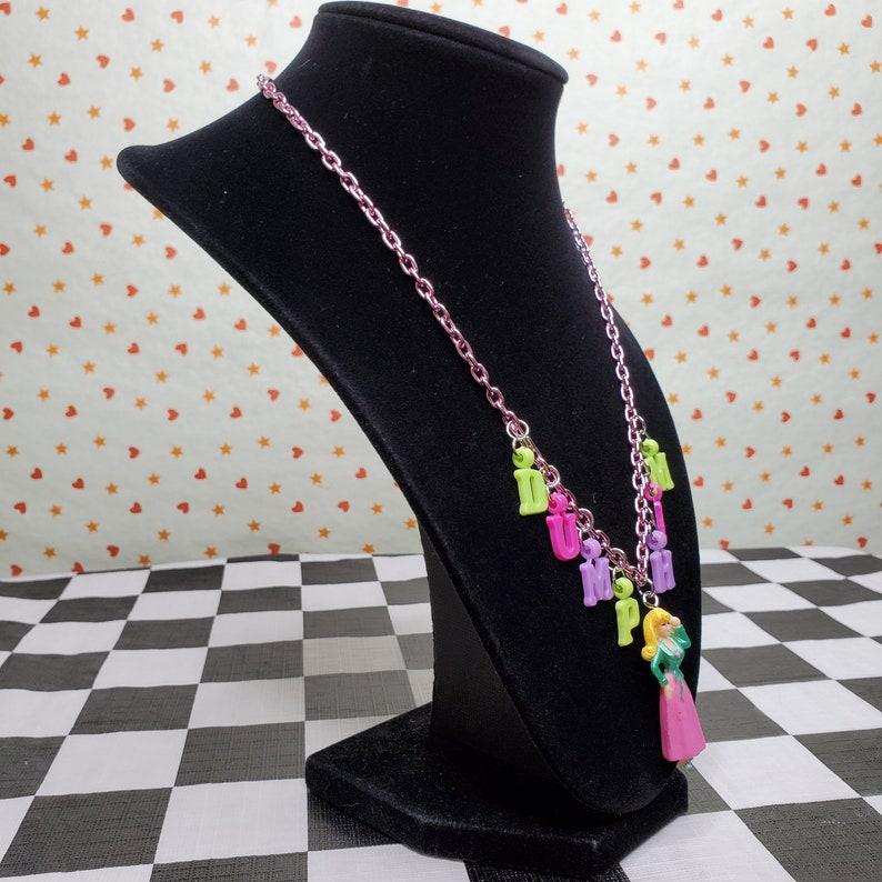 DUMP HIM Y2k Brat Barbie Doll Charm Pink Chain Necklace