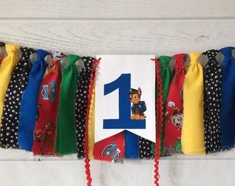 Paw Patrol Birthday Banner Highchair Decorations Photo Prop Smash Cake First Custom Chase