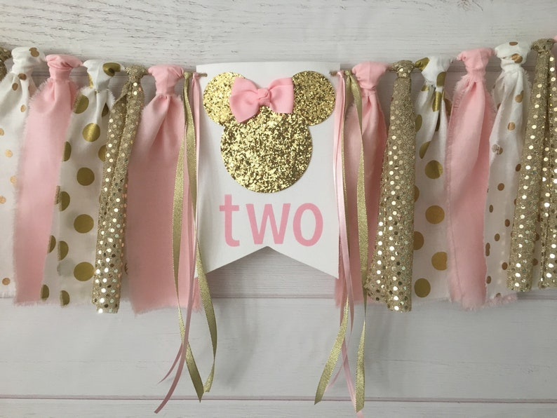Pink And Gold Minnie Mouse Birthday Banner Second
