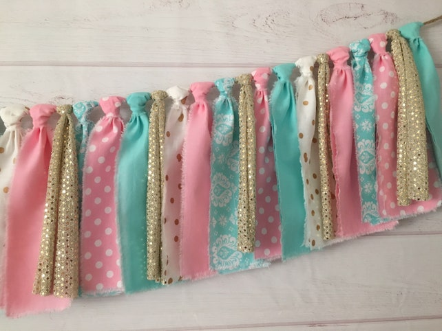 Pink Mint Gold Confetti Fabric Banner Birthday Decorations Highchair High Chair And Baby