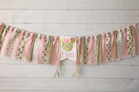 Pink And Gold Minnie Mouse Birthday Banner Second Decorations Oh Twoddles 2nd Two