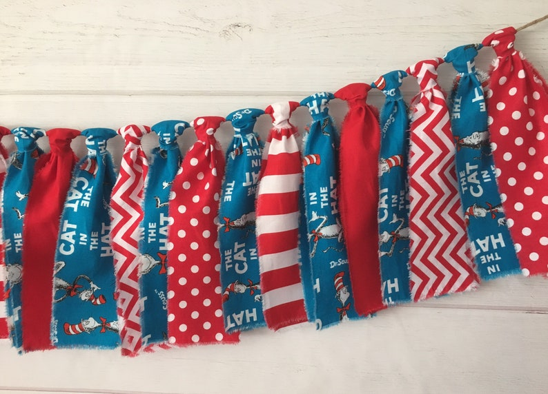Dr Suess Cat In The Hat Banner Garland Highchair Banner Etsy