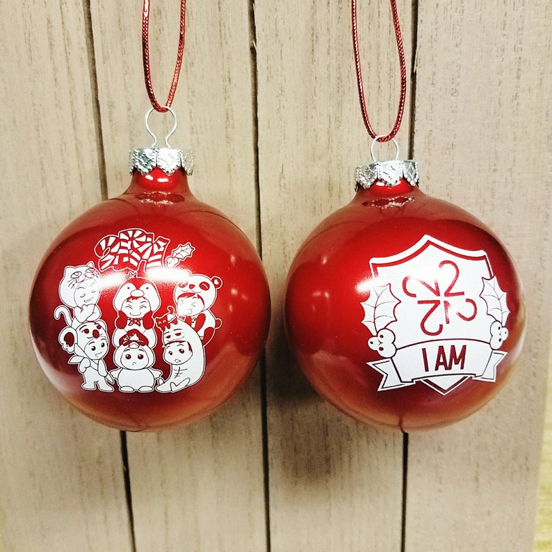 One Day 2AM 2PM Red Glass Ball Christmas Ornament JYP Nation KPOP Holiday  Tree Decoration