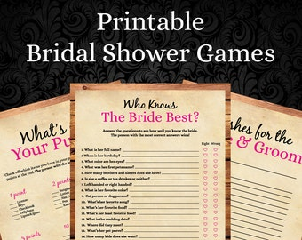 instant download 5 rustic bridal shower gamesbridal shower printable over under who knows the bride rustic weddingrbs 254