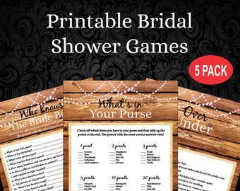 instant download 5 rustic bridal shower gamesbridal shower printableover underwho knows the briderustic wedding rbs 255