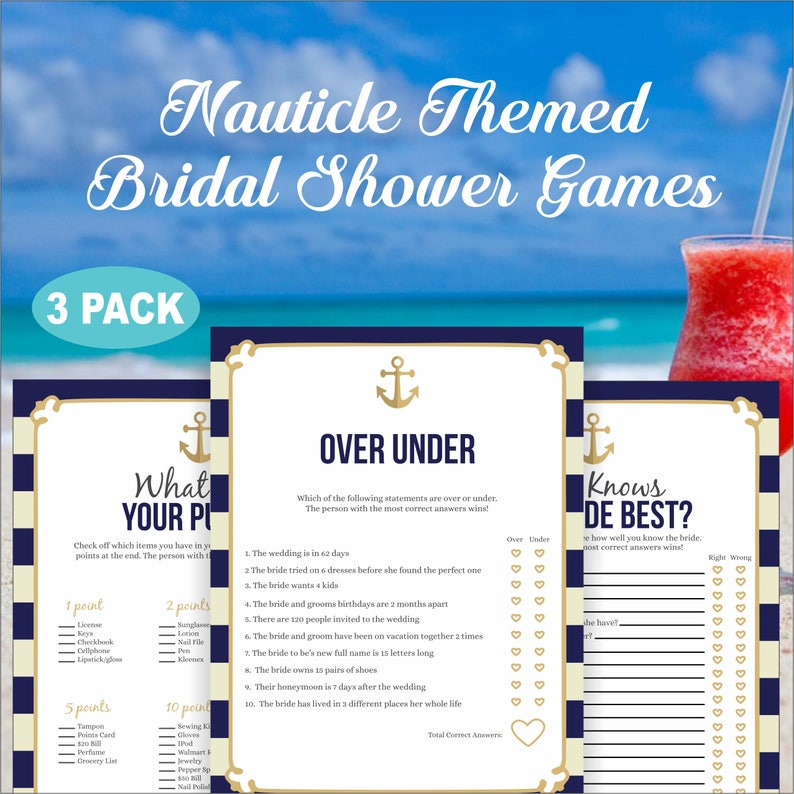 8 5x11 Instant Download, 3PK Beach Bridal Shower- Nautical Themed Shower  Games-Over Under- Who Knows Her Best- Whats In Your Purse -#BBS-264
