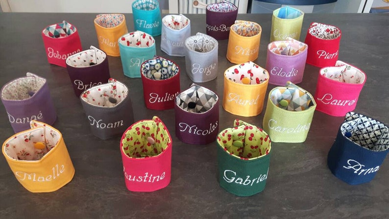 set of 5 double custom embroidered fabric napkin rings custom napkin ring