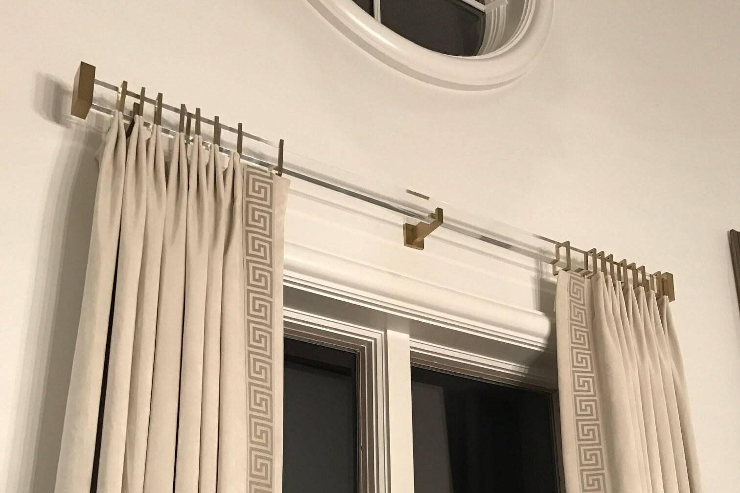 Rectangle Acrylic Metal Bracket For Rectangle Lucite Or Acrylic Drapery Rod Rectangular Curtain Rod