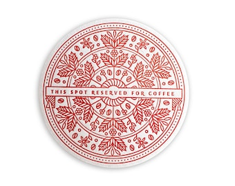 Set of 8 Red Gift Bow Letterpress Drink Coasters