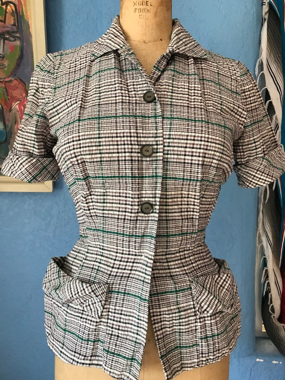 Vintage 1940s 1950s Nelly Don summer suit top brow