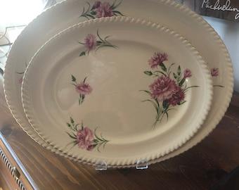 Johnson Brothers Pink Carnation Gold Trim Platter Set