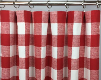 Red Buffalo Check Curtains - FREE SHIPPING - Plaid Check - Red Gingham Drapes - Red Plaid Drapery - Rod Pocket - 24 50 x 63 84 96 108 120