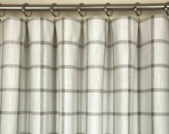 Beige Plaid Slub Rod-Pocket Curtains - Aaron Ecru Curtains - Cream Curtains - Plaid Curtains - Farmhouse Curtains - 63 84 96 108 120