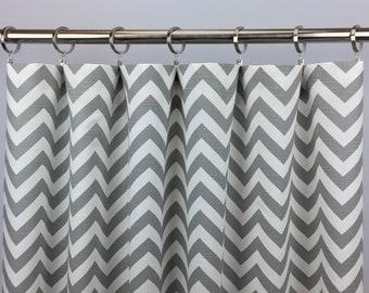 Gray Zigzag Curtains - FREE SHIPPING - Ash Gray Chevron Curtains - Gray and White Chevron Curtains - Rod-Pocket - 63 84 96 108 120